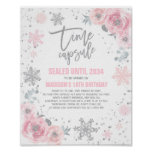 Winter ONEderland Time Capsule Pink And Silver Poster