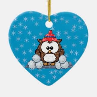 winter owl christmas ornament