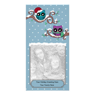 Winter Owl Holiday Card Customised Photo Card