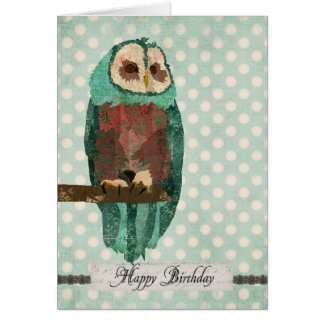 Winter Owl Polkadot  Birthday  Card