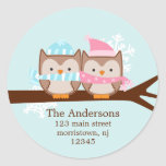 Winter Owls Couple Holiday Stickers