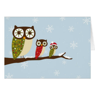 winter owls greeting cards