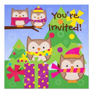 Winter Owls Holiday Birthday Invitation