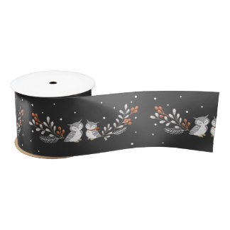 Winter Owls Satin Ribbon - Black