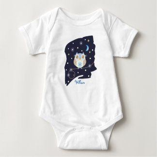 Winter Owls, Snowflakes and custom Name Baby Bodysuit