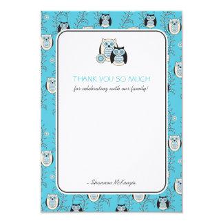 Winter Owls Thank You Flat Cards 9 Cm X 13 Cm Invitation Card
