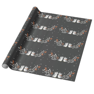 Winter Owls Wrapping Paper