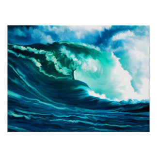 Winter Pacific Surf Oil Painting Poster