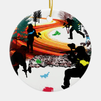 Winter Paintball in the Woods Ornament