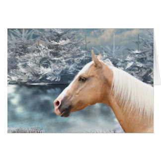 Winter palomino horse card
