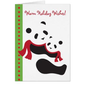 Winter Panda Bears Holiday Christmas Card