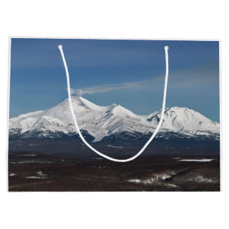 Winter panorama view of active volcano large gift bag