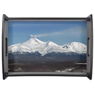 Winter panoramic view of volcanoes serving tray