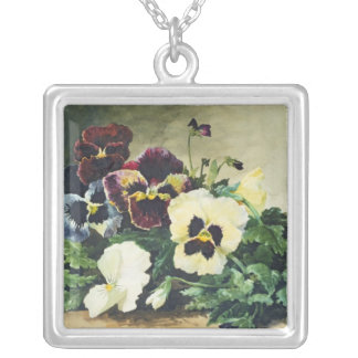 Winter Pansies, 1884 Silver Plated Necklace