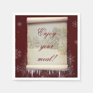 Winter Parchment Illustration - Paper Napkin