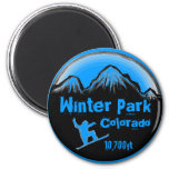 Winter Park Colorado blue snowboard art magnet
