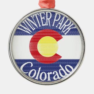 Winter Park Colorado circle flag Christmas Ornament