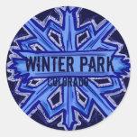 Winter Park Colorado snowflake round stickers