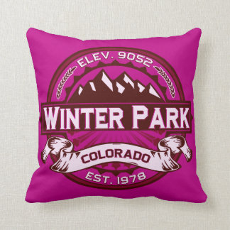 Winter Park Logo Raspberry Cushion