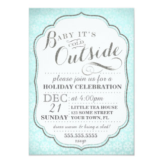 Winter party invite snowflakes and glitter