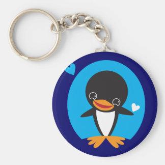 Winter Penguin Basic Round Button Key Ring