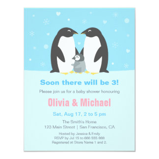 Winter Penguin Family Baby Shower Invitations