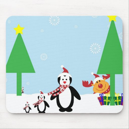 Winter Penguin Holiday Mousepads
