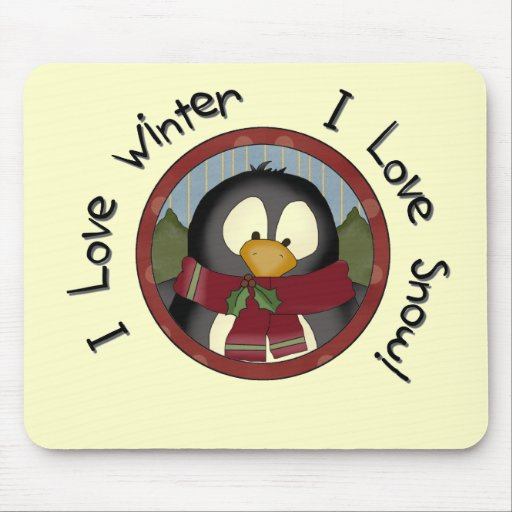 Winter Penguin Holiday Tshirts and Gifts Mouse Pad