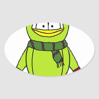Winter Penguin with Hat and Gloves Oval Sticker