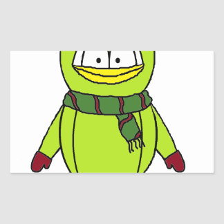 Winter Penguin with Hat and Gloves Rectangular Sticker