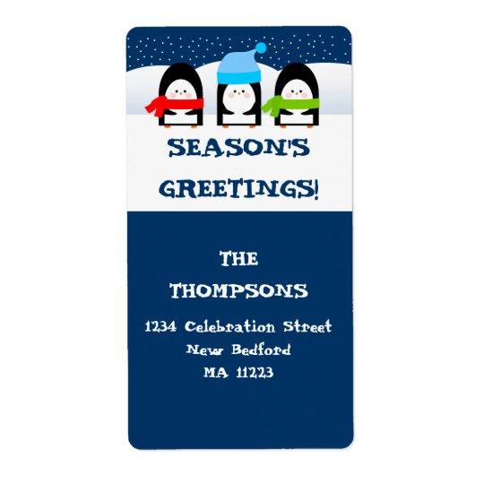 Winter Penguins Address Label