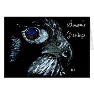 Winter Peregrine Traditional with front text Greeting Card