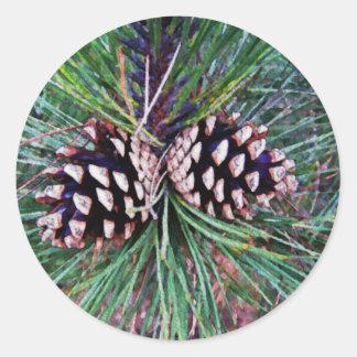 Winter Pine Come Classic Round Sticker
