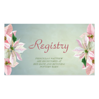 Winter Pine & Poinsettias Registry Card Pack Of Standard Business Cards
