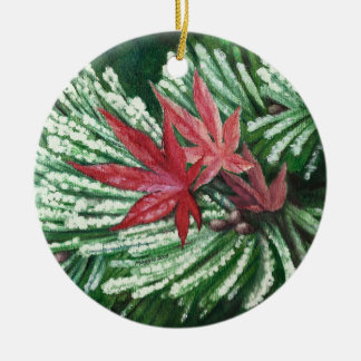 Winter Pine Round Ceramic Decoration