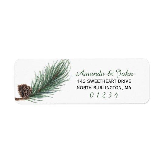 Winter Pine Watercolor | Return Return Address Label
