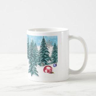 Winter pines Christmas mug