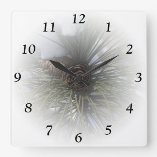 Winter Pines Square Clock