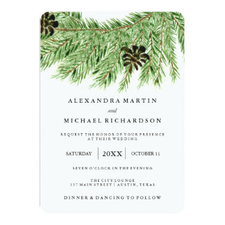 Winter Pines Wedding Card