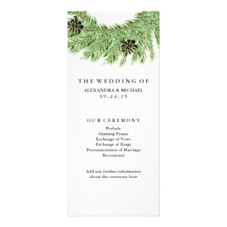 Winter Pines Wedding Program Rack Card