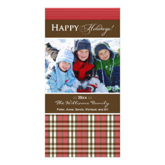 Winter Plaid Family Holiday Photocard_2 (red) Card