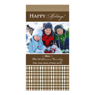 Winter Plaid Family Holiday Photocard_2 (taupe) Picture Card