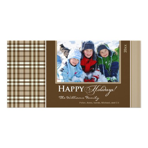 Winter Plaid Family Holiday Photocard (taupe) Photo Greeting Card