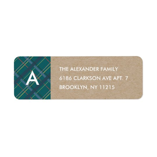 Winter Plaid Monogram Address Label - Teal