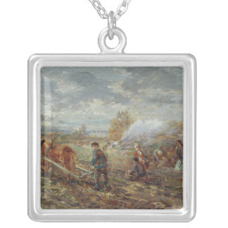 Winter Ploughing Silver Plated Necklace