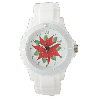 Winter Pointsettia Wrist Watch