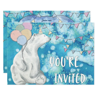 Winter Polar Bear Birthday Party Card