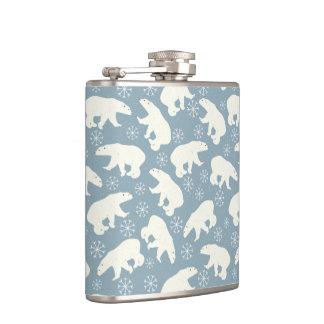 Winter Polar Bears seamless pattern + your ideas Hip Flask