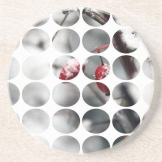 Winter Polka Dots Berries Red Beverage Coasters