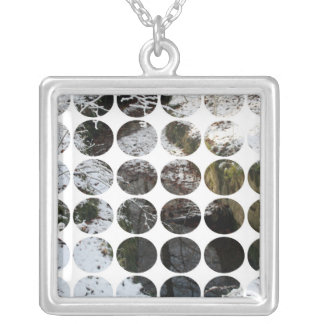Winter Polka Dots Forest Reflection Necklace